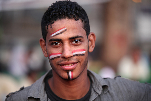 Young man in Tahrir Square